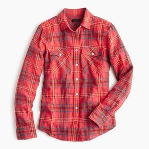 J. Crew Boyfriend Shirt in Cerise Plaid